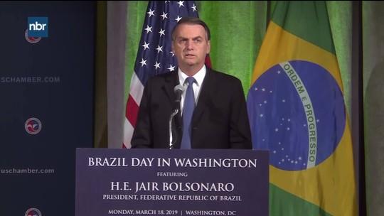 Bolsonaro cita capacidade bélica dos EUA ao dizer que é preciso resolver 'questão da Venezuela'
