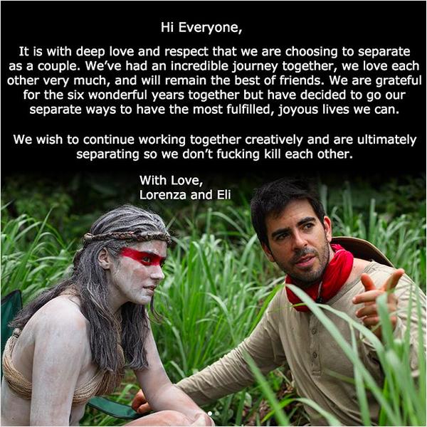 O diretor Eli Roth e a atriz Lorena Izzo e o comunicado de divórcio divulgado pelos dois (Foto: Instagram)