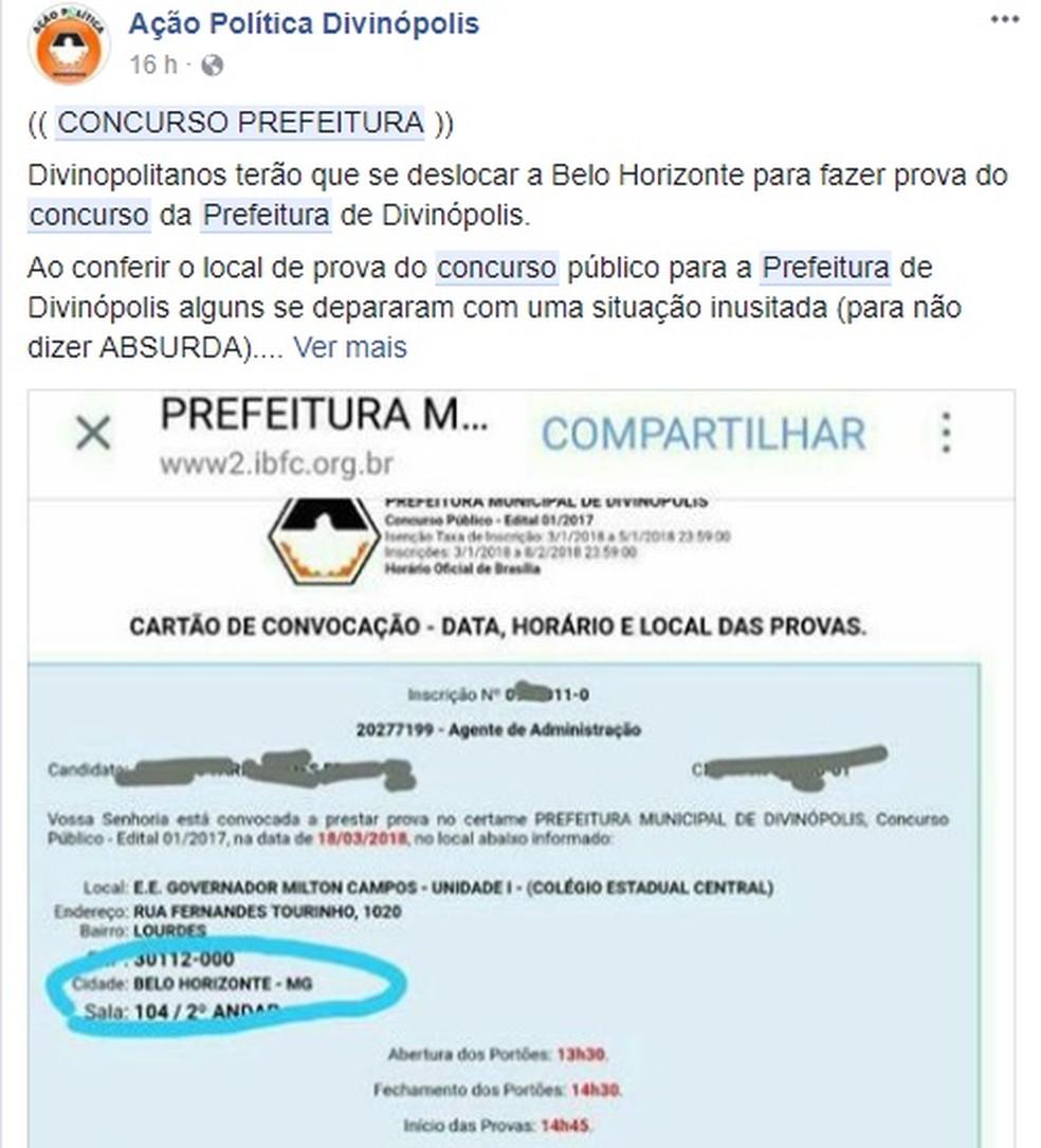 -  Candidatos questionaram sobre provas realizadas em Belo Horizonte  Foto: Rede Social/Reprodução