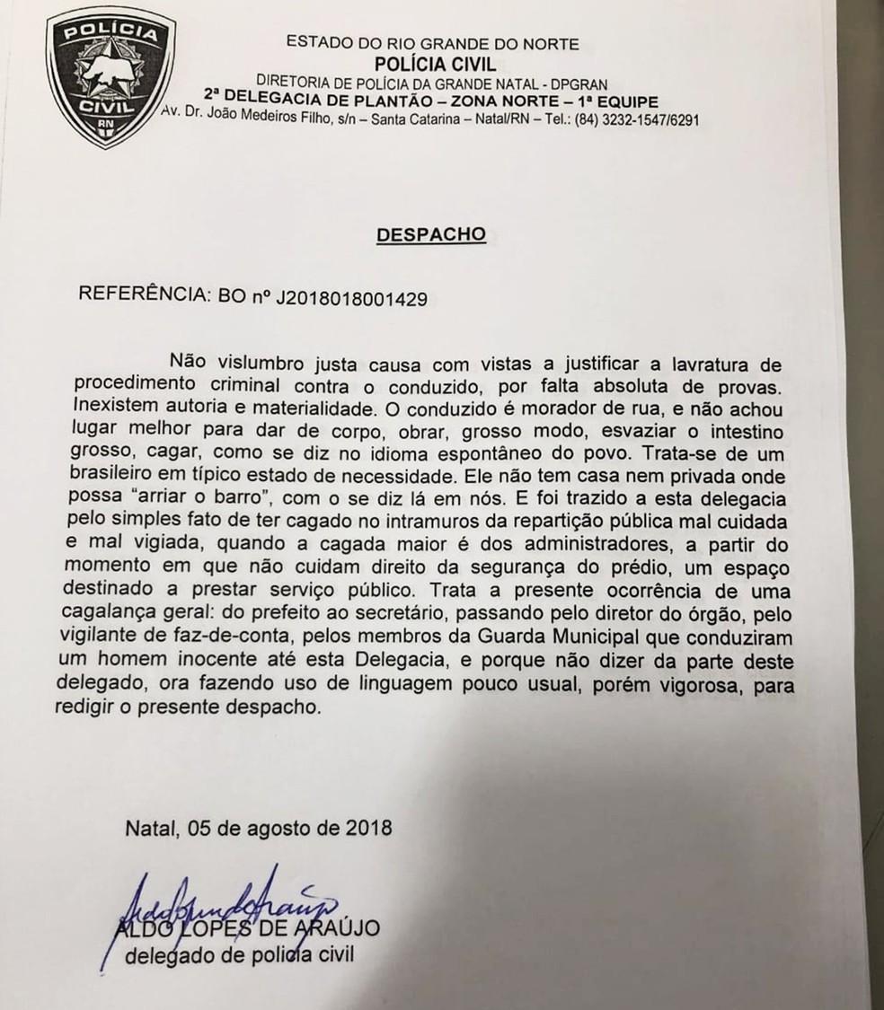Despacho foi assinado pelo delegado Aldo Lopes no plantão do último domingo, dia 5 (Foto: Reprodução)