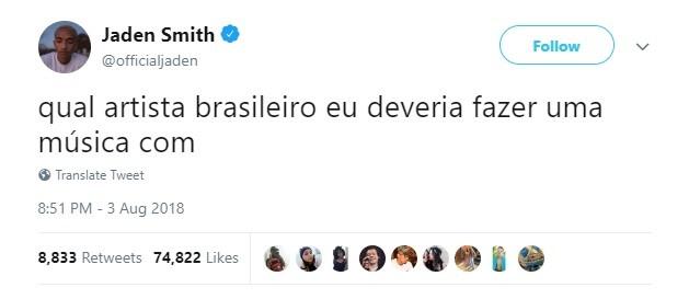 Jaden tuita em português e pede nomes de cantores brasileiros para duo (Foto: Reprodução/ Twitter)