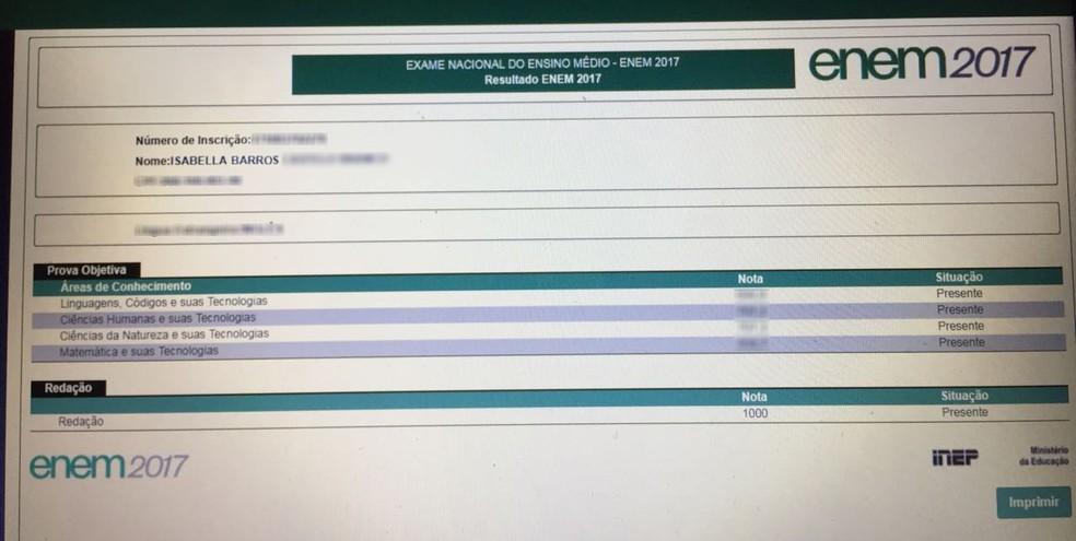 Apenas 53 candidatos fizeram nota mil na redação do Enem (Foto: Reprodução INEP)