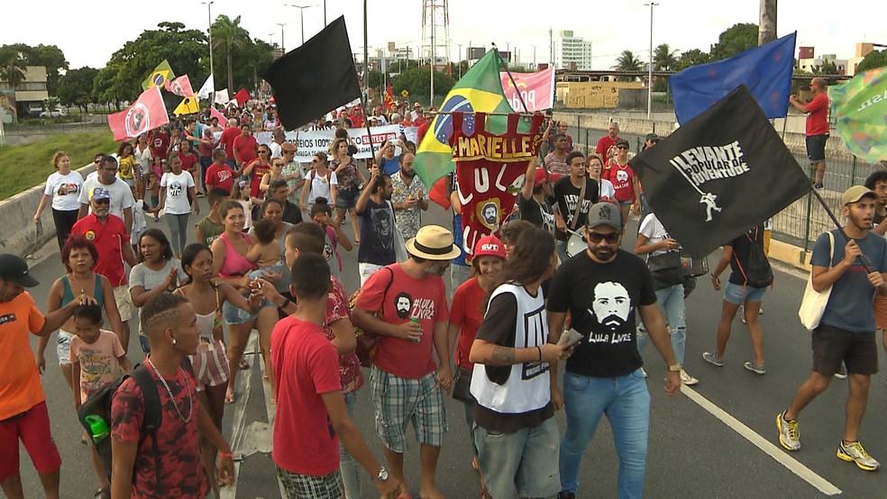 Ato do Dia do Trabalhado em João Pessoa — Foto: Reprodução/TV Cabo Branco