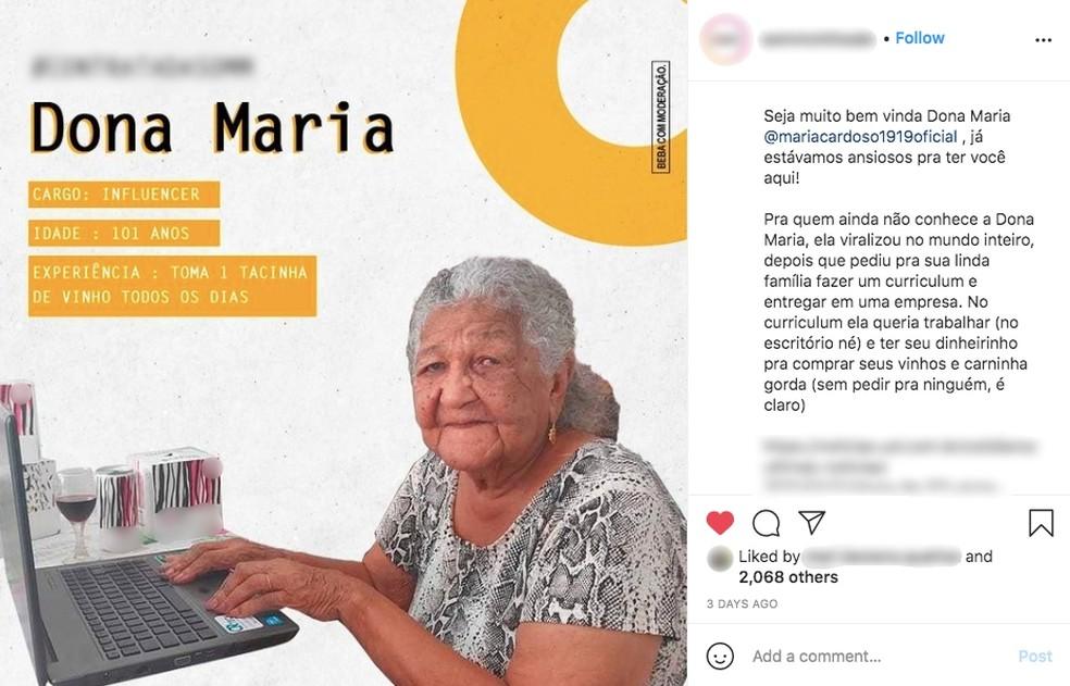 Dona Maria começou a trabalhar como digital influencer para empresa de vinhos  — Foto: Instagram/ Reprodução