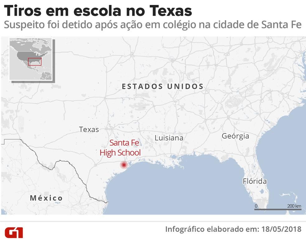 Tiros em escola no Texas (Foto: Infografia: Karina Almeida/G1)