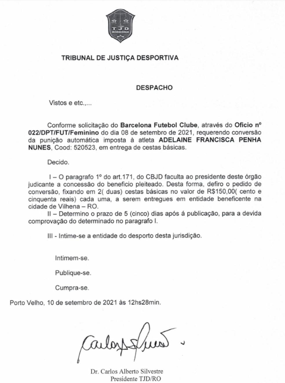Despacho do TJD/RO sobre o caso Espigão — Foto: Divulgação