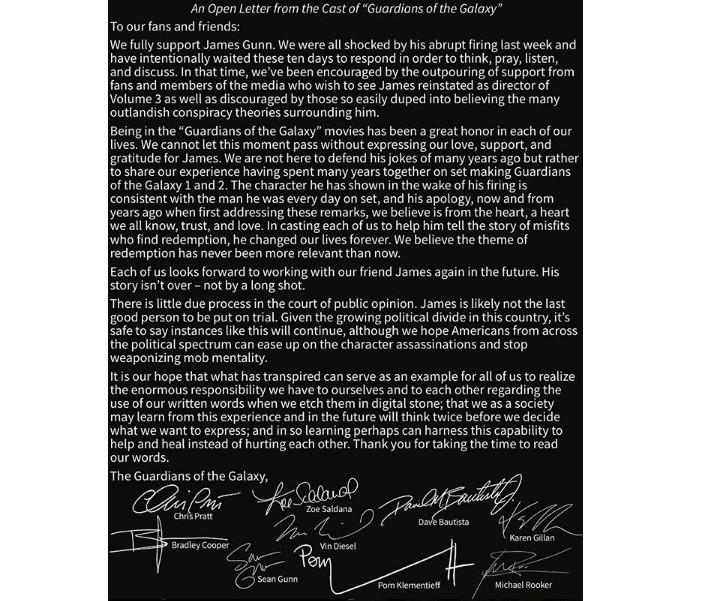 Comunicado do elenco de Guardiões da Galáxia sobre a demissão de James Gunn (Foto: Reprodução/Instagram)