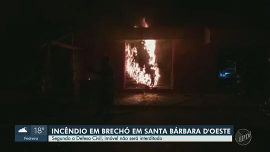 Donos estimam prejuízo de R$ 50 mil após incêndio em brechó de Santa Bárbara d'Oeste, SP