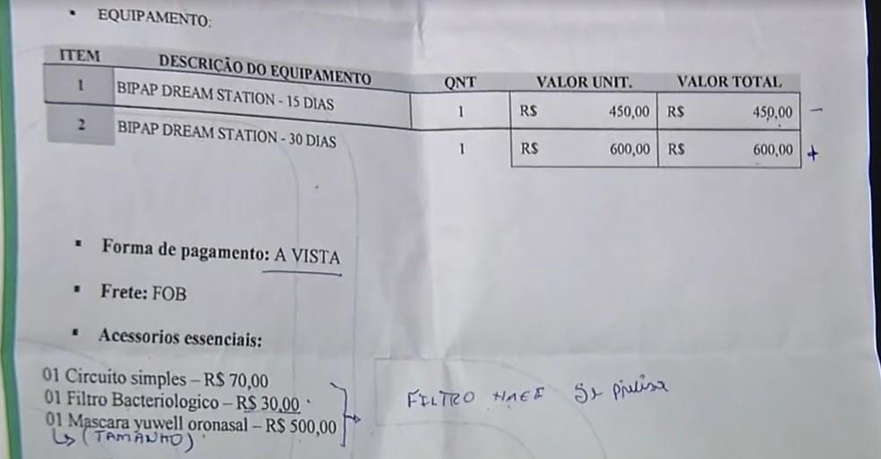 Família diz que foi orientada por profissionais de hospital no Ceará a adquirir equipamento de oxigenação por conta própria — Foto: TV Verdes Mares/Reprodução