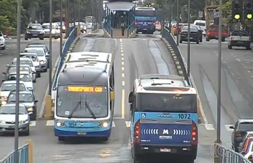 Estudante foi vítima de abuso enquanto estava dentro de ônibus do Eixo Anhanguera, em Goiânia (Foto: Reprodução/TV Anhanguera)