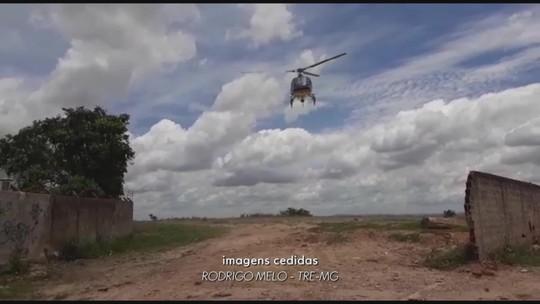 TRE usa helicóptero para levar baterias a cidade sem energia elétrica na Região Central de Minas