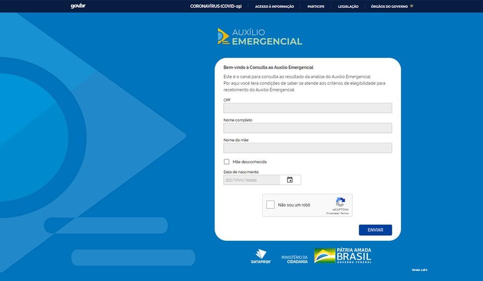 Site permite consultar situação do cadastro no Auxílio Emergencial. Ferramenta também pode indicar se CPF foi usado de forma indevida. — Foto: Reprodução