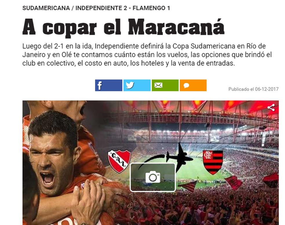 Diário Olé prevê título mais perto para jogo do Maracanã (Foto: Reprodução)