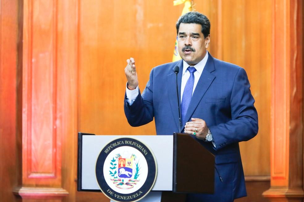 Nicolás Maduro, presidente chavista da Venezuela, durante declaração em Caracas em 29 de junho — Foto: Miraflores Palace/Handout via Reuters