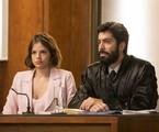 Agatha Moreira e Vandré Silveira gravam a cena do julgamento de Josiane em 'A dona do pedaço' | Rede Globo / Victor Pollak