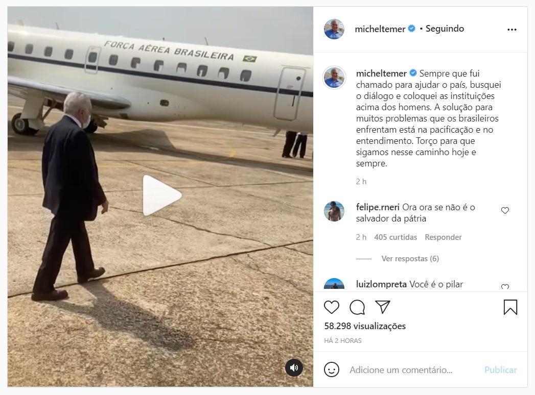 Michel Temer faz publicação comentando chamado de Jair Bolsonaro para lidar com crise entre Poderes