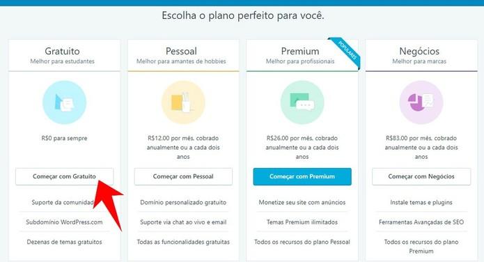 Selecione o plano gratuito do WordPress (Foto: Reprodução/Rodrigo Fernandes)