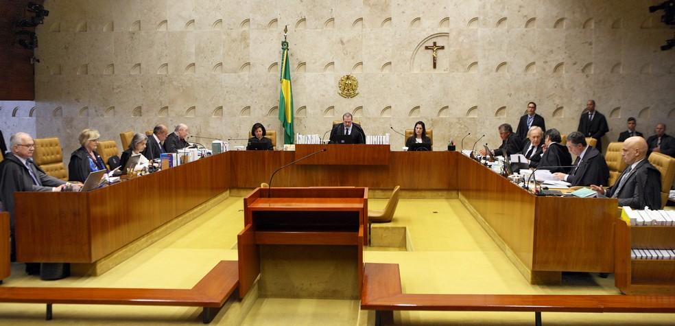 Ministros durante sessão do Supremo Tribunal Federal (STF) nesta quinta-feira (14) — Foto: Foto: Nelson Jr./SCO/STF