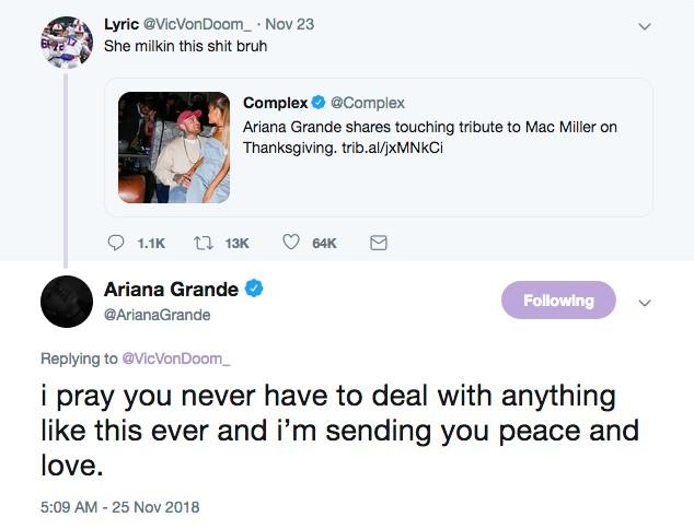 A acusação feita por um usuário do Twitter e a resposta enfática de Ariana Grande (Foto: Twitter)