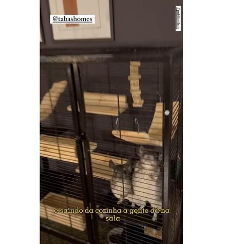 Gaiola com animais de estumação fica na sala da nova casa de João Luiz (Foto: Reprodução)