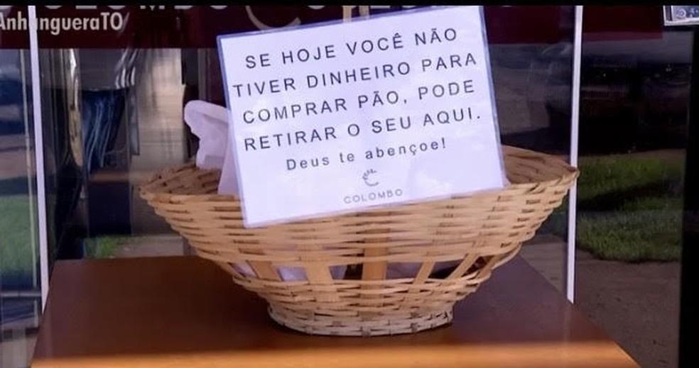 Padaria em Palmas oferece pães para quem não pode pagar — Foto: Reprodução/TV Anhanguera