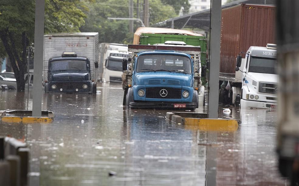 Caminhões ficaram em meio à água no estacionamento do Ceagesp, na Zona Oeste de São Paulo — Foto: André Penner/AP