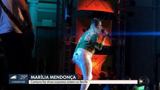 Marília Mendonça apresenta canção inédita durante show surpresa no Recife