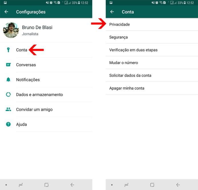 Acesse as configurações de privacidade do WhatsApp (Foto: Reprodução/Bruno De Blasi)