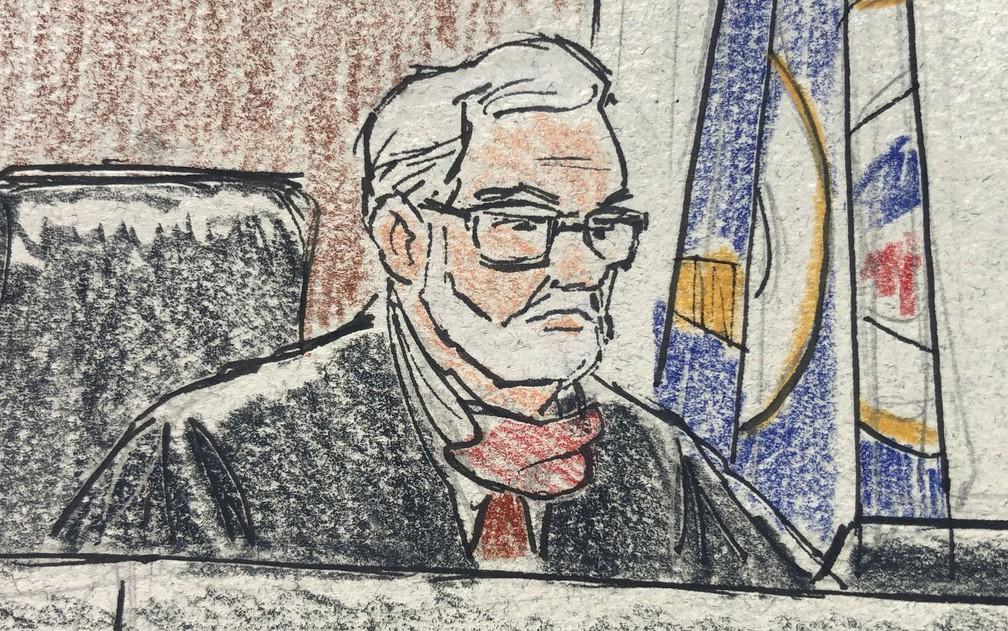 O juiz Paul Scoggin, que presidiu as audiências inciais dos ex-policiais J. Alexander Kueng, Thomas Lane e Tou Thao, acusados pela morte de George Floyd, em desenho feito por artista na corte em Minneapolis, na quinta-feira (4) — Foto: Cedric Hohnstadt Illustration via Reuters