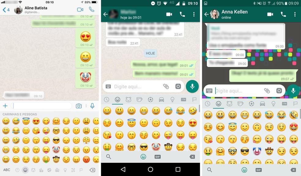 Emojis do WhatsApp no iPhone, no Android e na versão beta (Foto: Reprodução/Aline Batista)