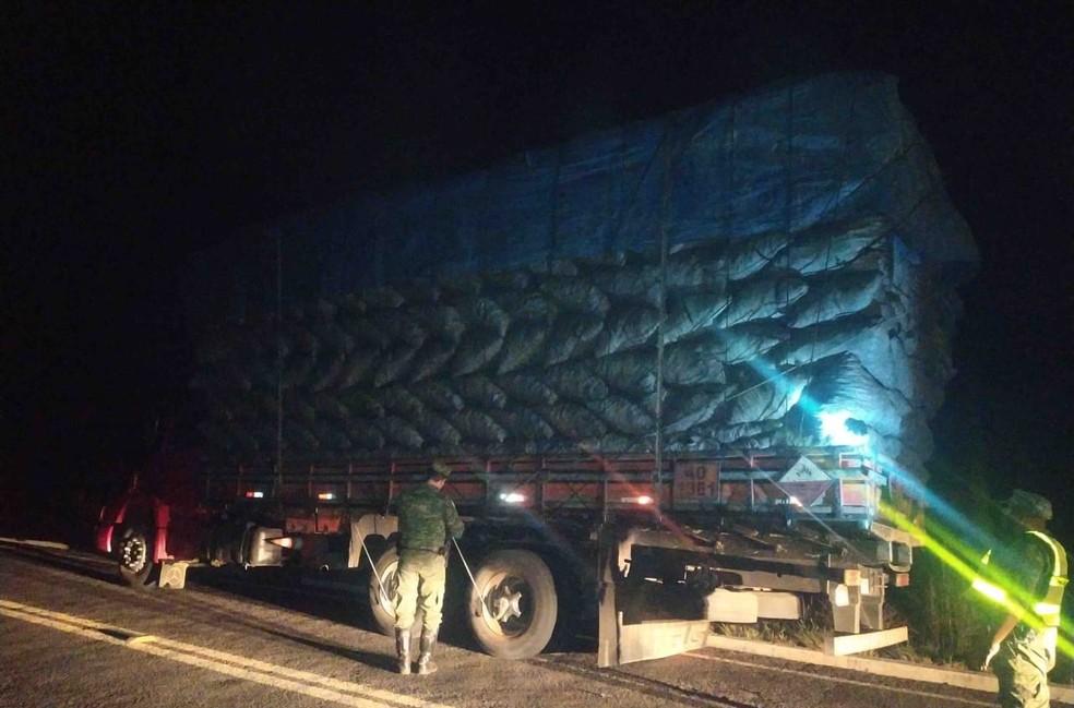 Caminhão foi encontrado na rodovia, em Januária — Foto: Polícia Militar de Meio Ambient/Divulgação