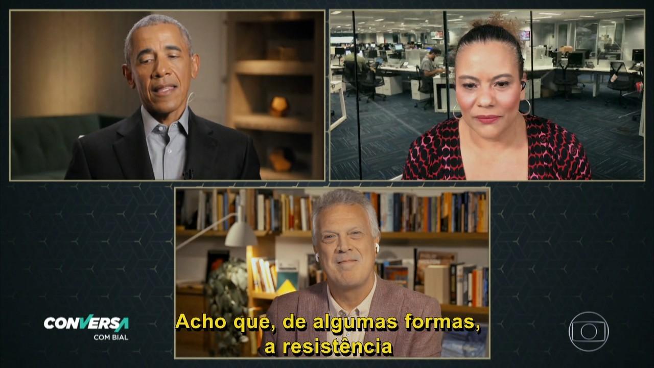 Flávia Barbosa pergunta para o ex presidente qual a opinião dele sobre as mulheres no poder