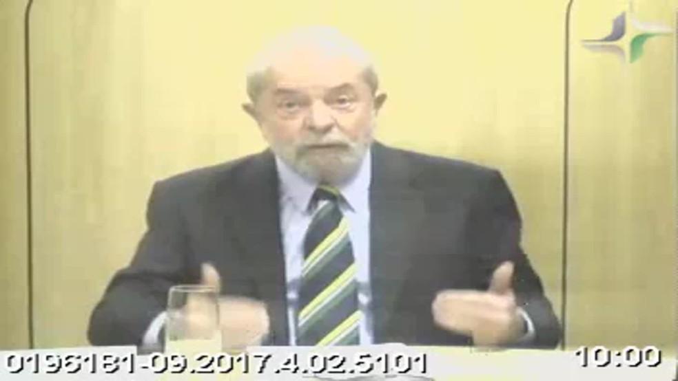 Lula prestou depoimento por vídeoconferência (Foto: Reprodução)