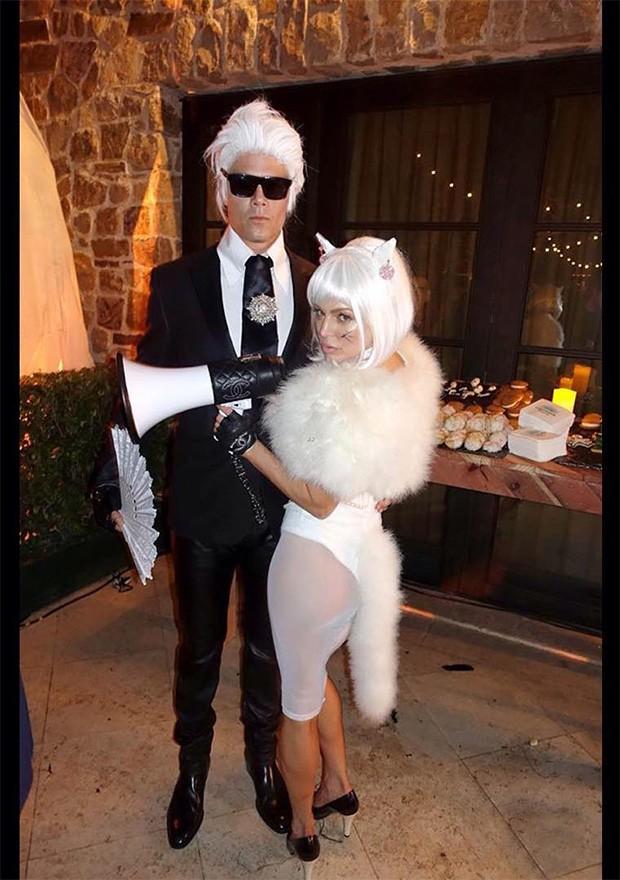 Josh Duhamel como Karl Lagerfeld e Fergie como Choupette (Foto: Instagram / Fergie)
