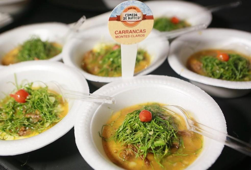 3º lugar ficou com o bar Carrancas, de Montes Claros, Minas Gerais, com o petisco Carrancostela, uma costela de gado cozida servida com angu de fubá de milho produzido em moinho de pedra. Acompanha caldo ao estilo carranca — Foto: Iwi Onodera/G1