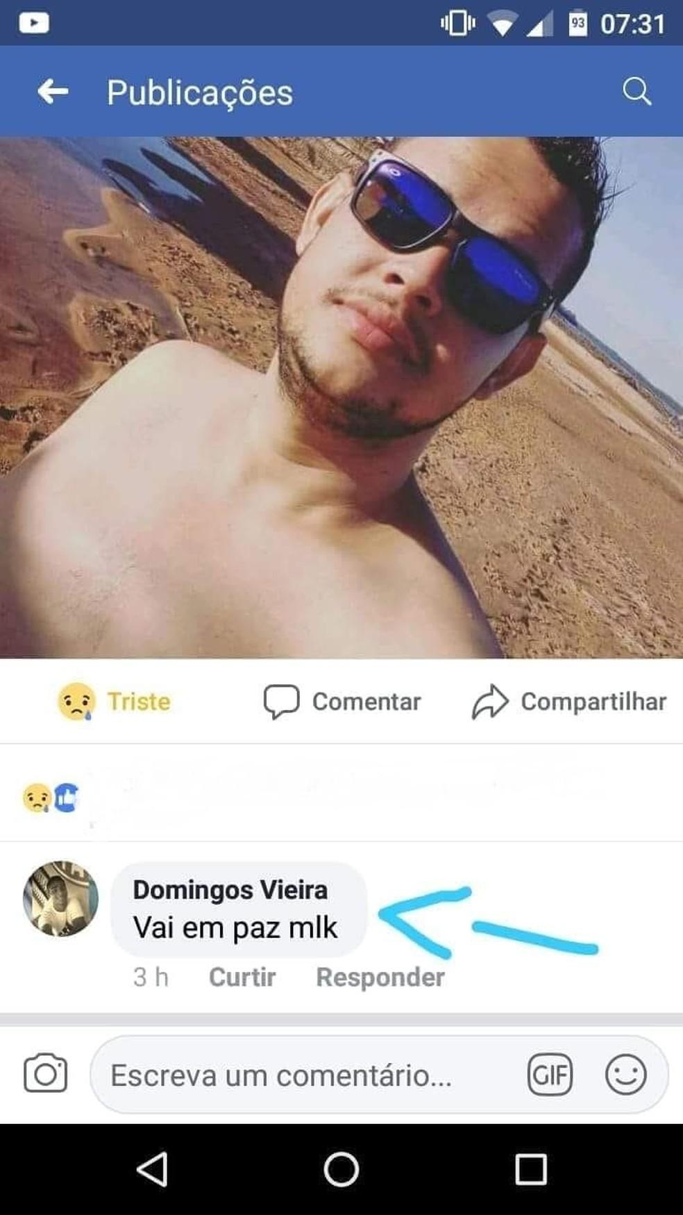 Suspeito postou nas redes sociais da vítima (Foto: Reprodução/Facebook)