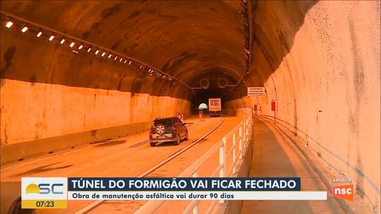 Túnel do Formigão ficará fechado por 90 dias na BR-101 em Tubarão