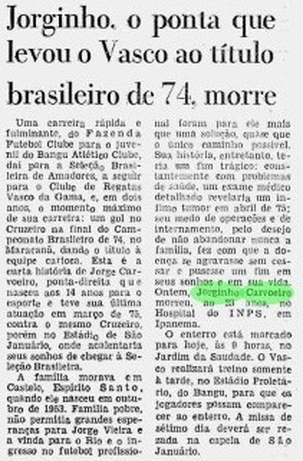 Nota no Jornal do Brasil informando sobre a morte de Jorginho Carvoeiro (Foto: Reprodução)