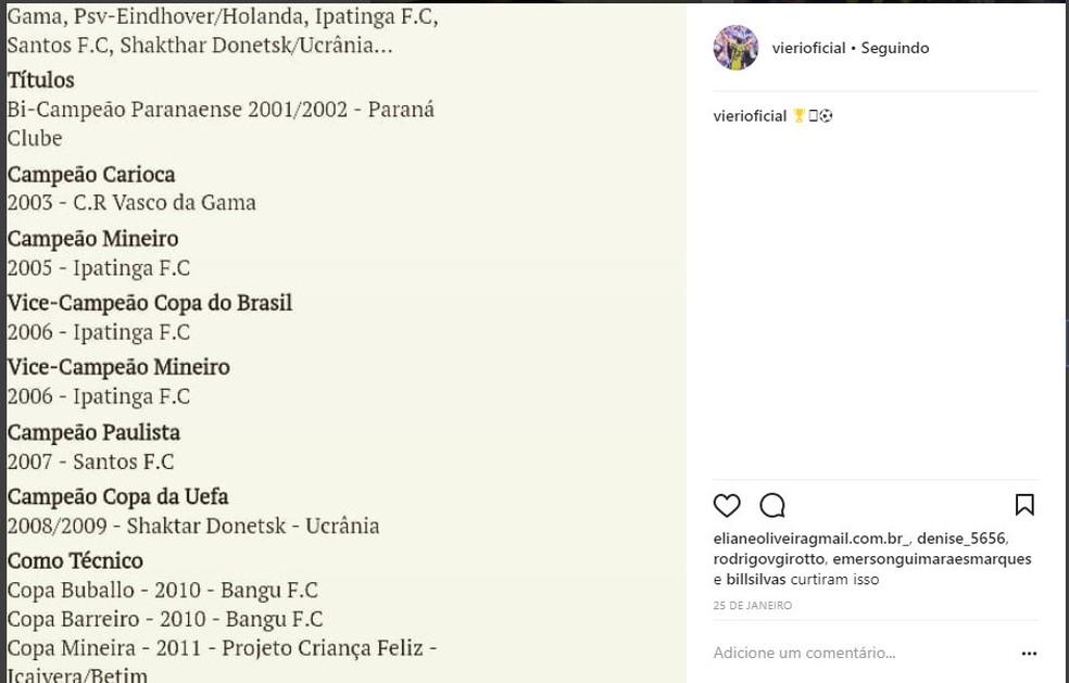 Em rede social, colocou imagem com os títulos que diz ter conquistado na carreira, mas não há registro dele nos clubes (Foto: Reprodução)