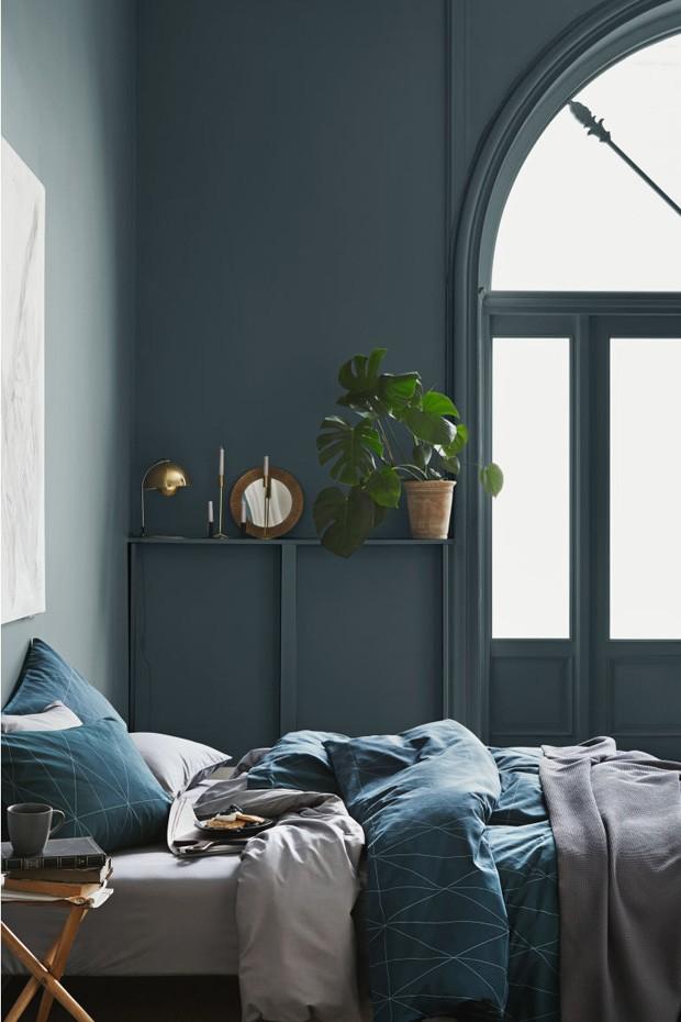 Décor do dia: quarto de casal azul e cinza  (Foto: H&M Home/Divulgação)