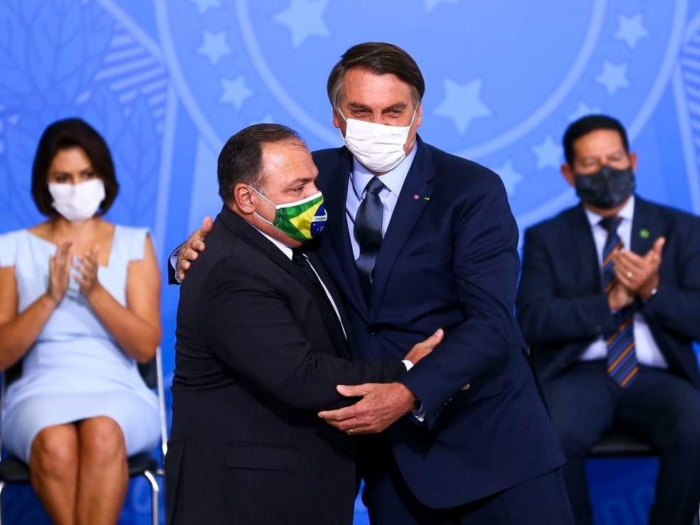 Posse de Pazuello como ministro da Saúde — Foto: Marcelo Camargo/Agência Brasil