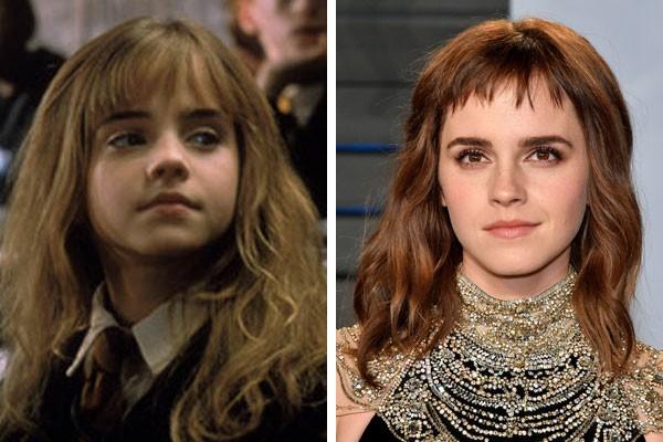 A atriz Emma Watson na infância e hoje (Foto: Reprodução/Getty Images)