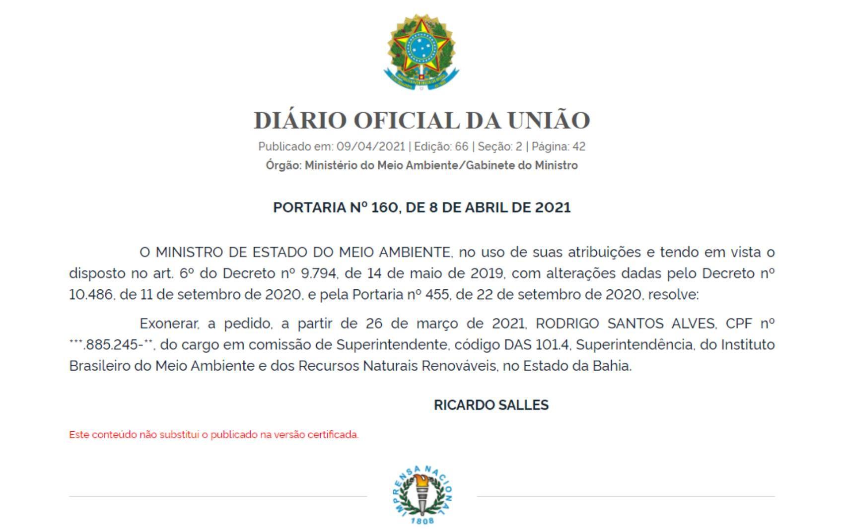 Ministério do Meio Ambiente publica exoneração de chefias do Ibama na Bahia, Amazonas, Tocantins e Paraíba