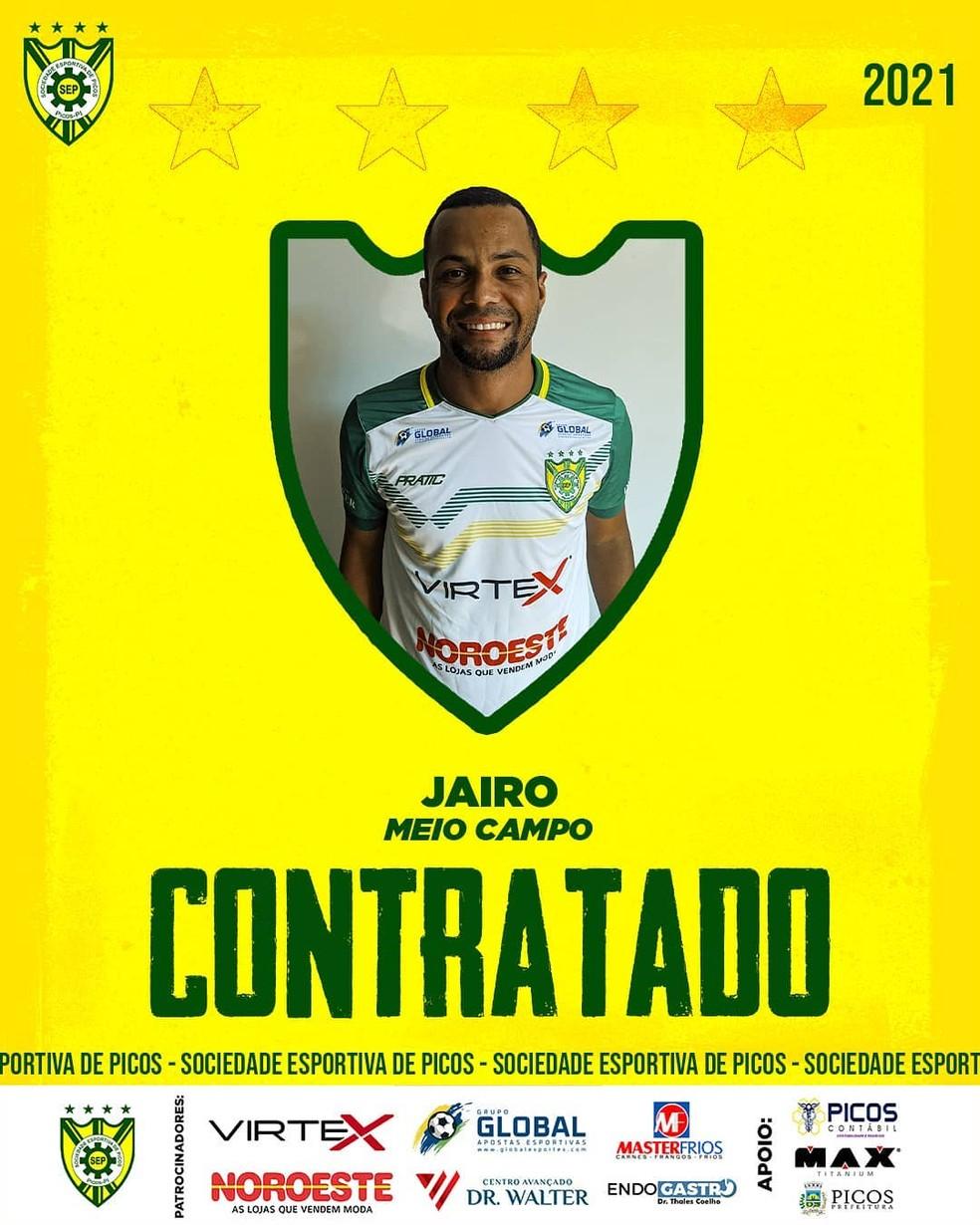 Reforço na área: Picos acerta com meia Jairinho, ex-River-PI, para  temporada 2021 | picos