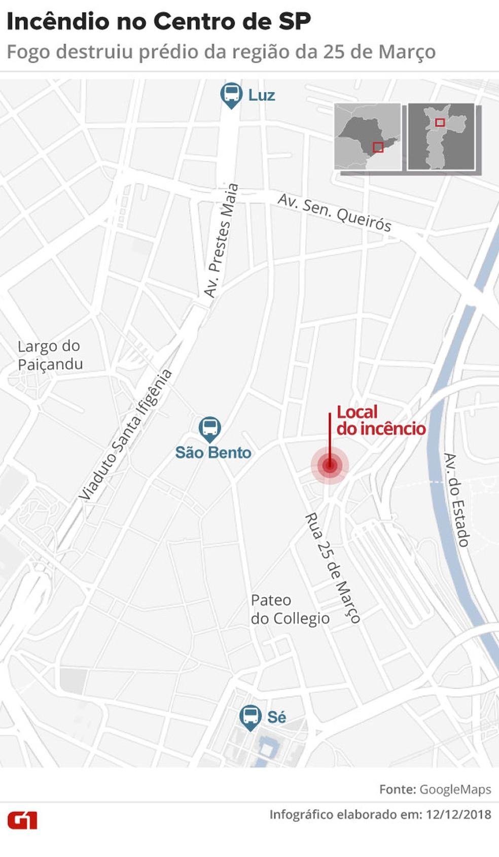 Mapa mostra o local do incêndio — Foto: Karina Almeida/Editoria de Arte/G1