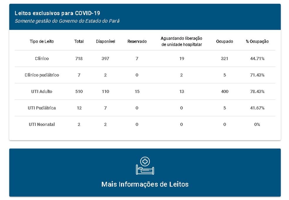 Situação dos leitos exclusivos para Covid-19 no Pará antes das 18h de 8 de junho de 2021. — Foto: Reprodução / Portal de Monitoramento (Sespa)