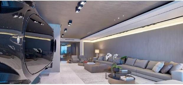 Carro é usado para dividir ambientes em apartamento de Miami (Foto: Divulgação)