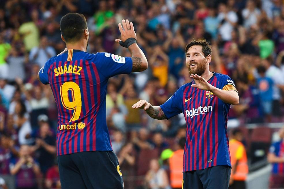 Suárez Messi Barcelona — Foto: Getty Images