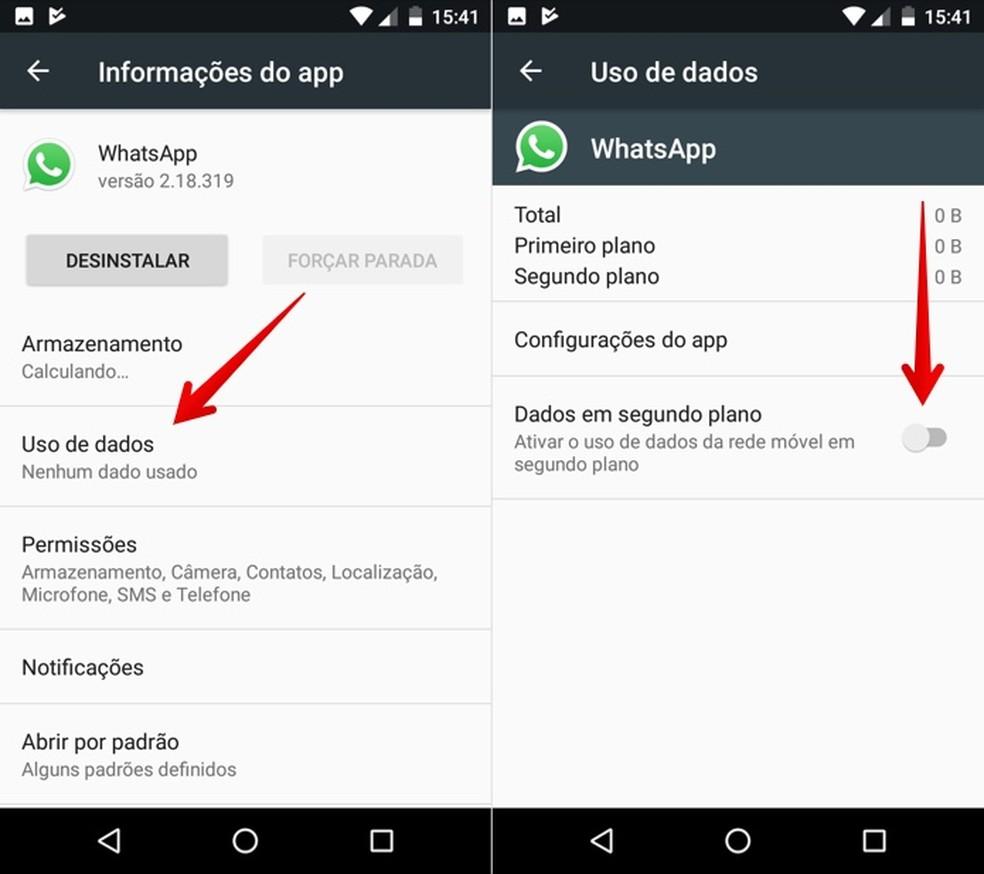 Desative os dados em segundo plano do WhatsApp — Foto: Reprodução/Helito Beggiora