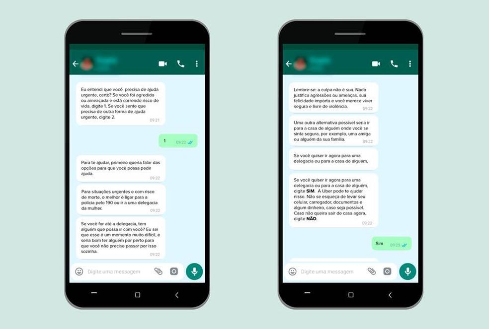 Assistente virtual no WhatsApp orienta a vítima de violência doméstica — Foto: Divulgação/Uber